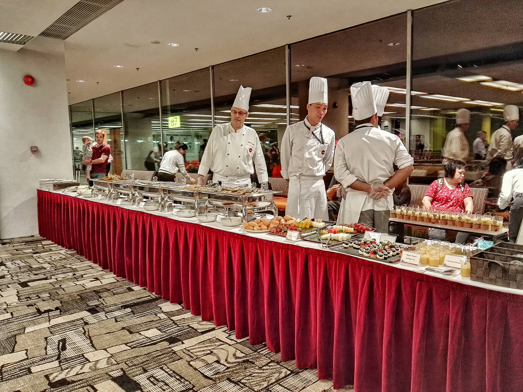 Buffet Station at Changi Airport Gate for the Inaugural Flight of Singapore Airlines
