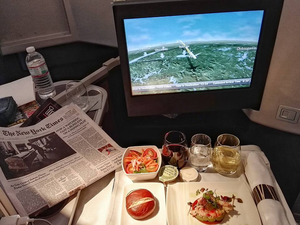 "Taking off: The 16-hour direct flight from New York's JFK airport to Hong Kong was super comfortable. Food was delicious, too. I mean this is some pretty nifty king crab and avocado guacamole on gazpacho jelly.. And it's just the appetizer! As you can see I had also been ""wine tasting"" on air with a California chardonnay (J.Lohr Estates Riverstone 2014) and a French GSM (Chateau Rombeau Pierre de La Fabregue 2011), both of which I enjoyed very much"
