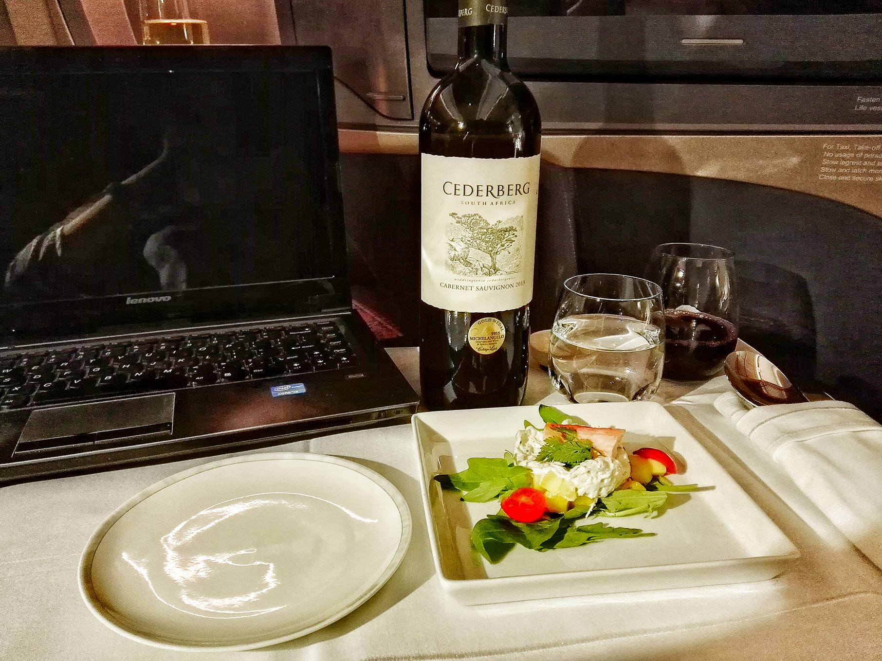 Cederberg Cabernet Sauvignon Wine Promotion Onboard Singapore Airlines Business Class- Singapore to Dusseldorf- Wifi Available- Airbus A350