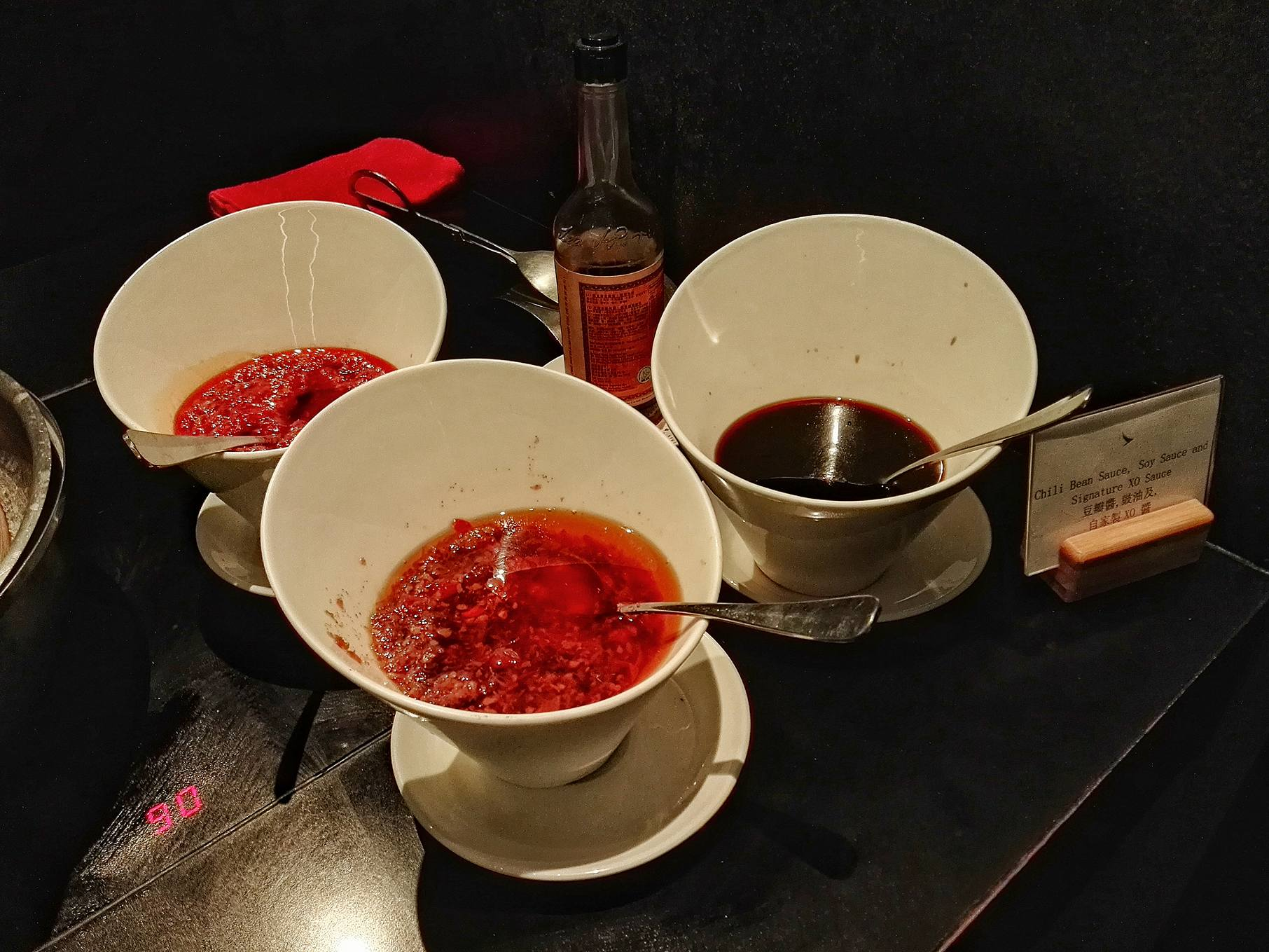 Chili Oil, XO Sauce and Soy Sauce at Cathay Pacific Business Class Lounge- The Bridge- Hong Kong