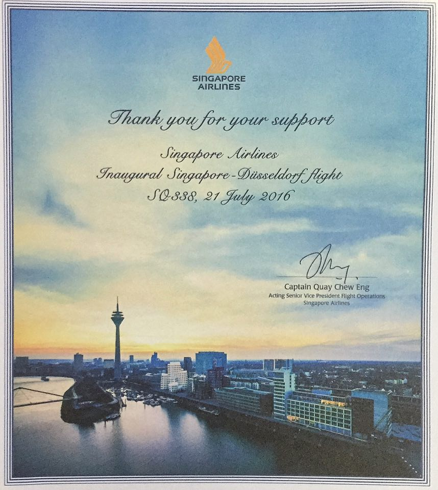 Singapore Airlines Inaugural Flight To Dusseldorf, Germany- July 21, 2016