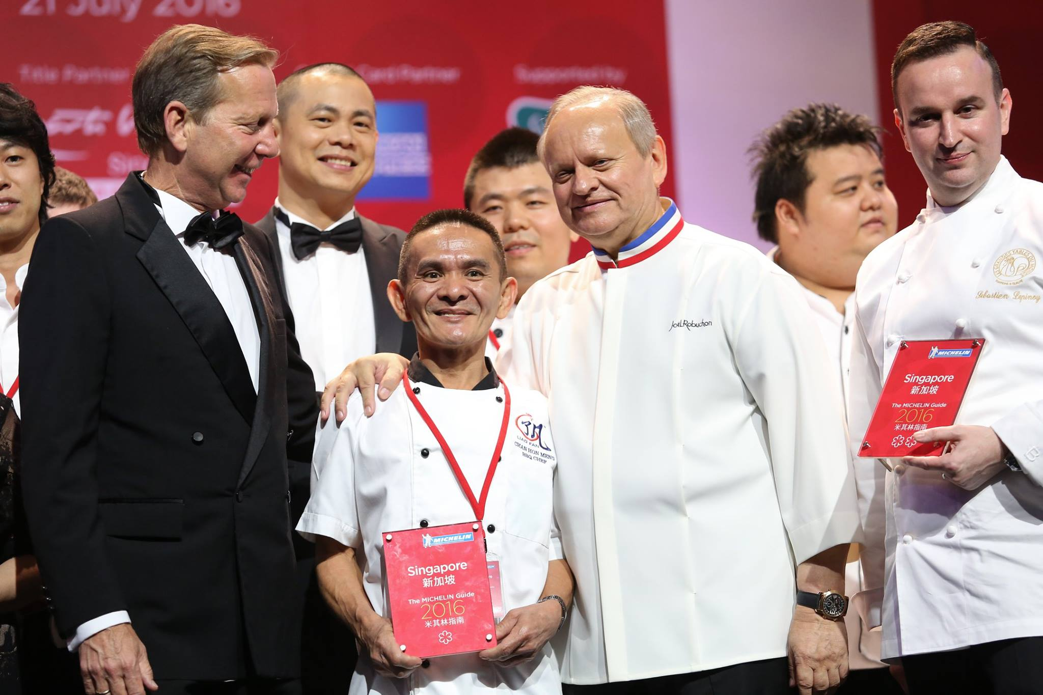The world's most Michelin-decorated chef Joel Robuchon and the world's first Michelin-recognised hawker, Hong Kong Soya Sauce Chicken Rice & Noodle's Chan Hong Meng