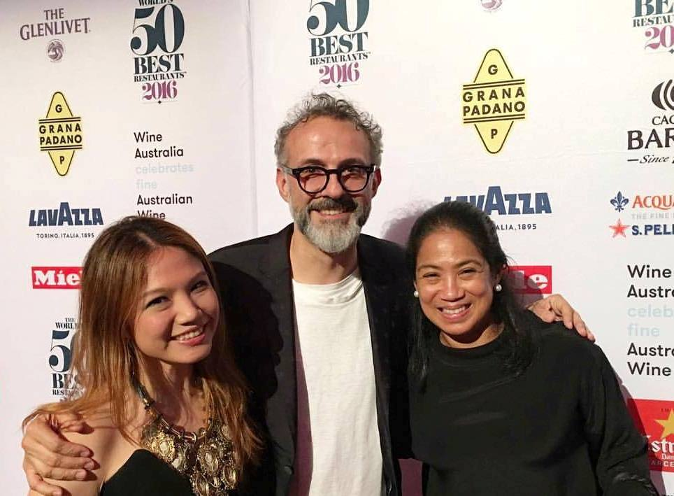 Congratulations to the 2016 World's Best Restaurant-- Osteria Franscescana in Modena, Italy! Here I am with chef-patron Massimo Bottura, and Asia's best female chef, our very own Margarita Fores