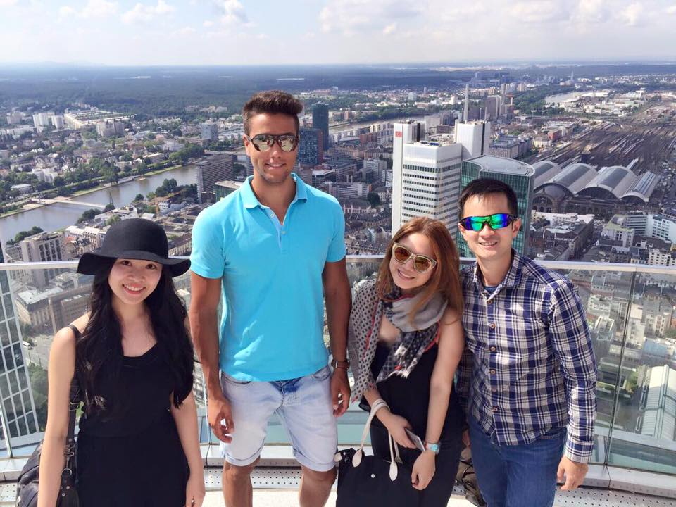 On top of the Main Tower overlooking the city of Frankfurt with May Seah of Today Newspaper (Singapore) and Singapore Airlines' Luke Wenninger and Stefan Loe