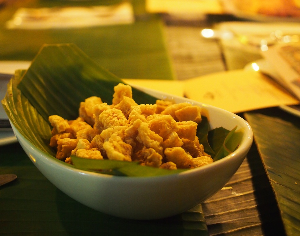 Memz Premium Pork Chicharon was served as pica-pica to start (Photo by Nicky Lozano)