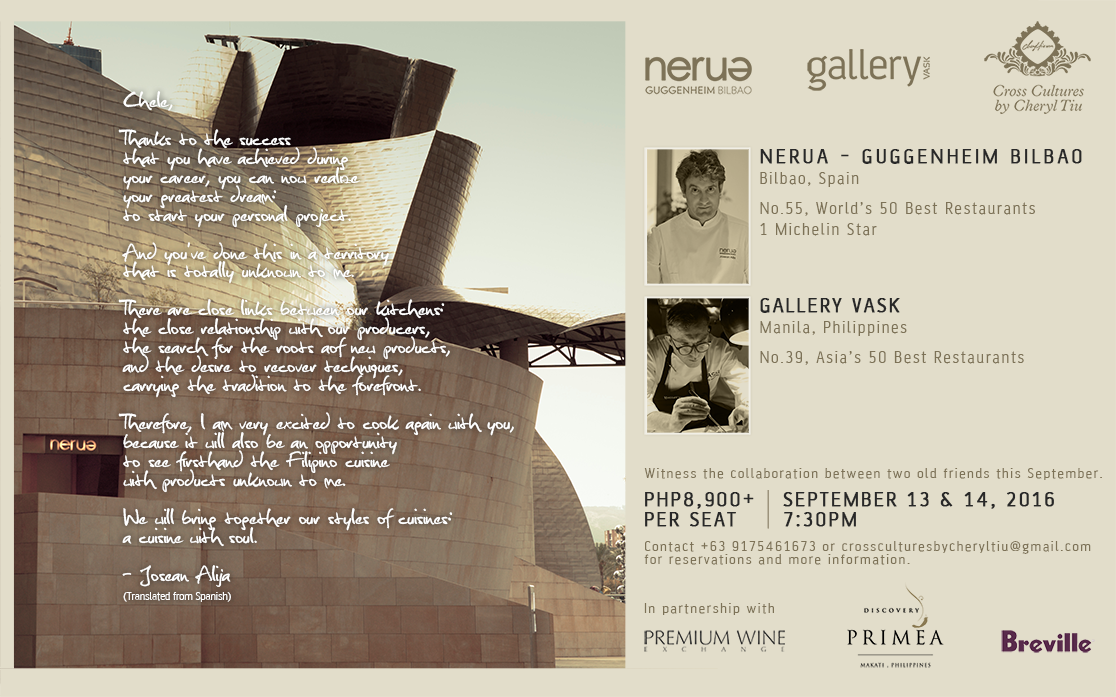 Nerua and Gallery Vask Collaboration Dinner in Manila, Philippines, Presented by Cross Cultures by Cheryl Tiu- September 13 and