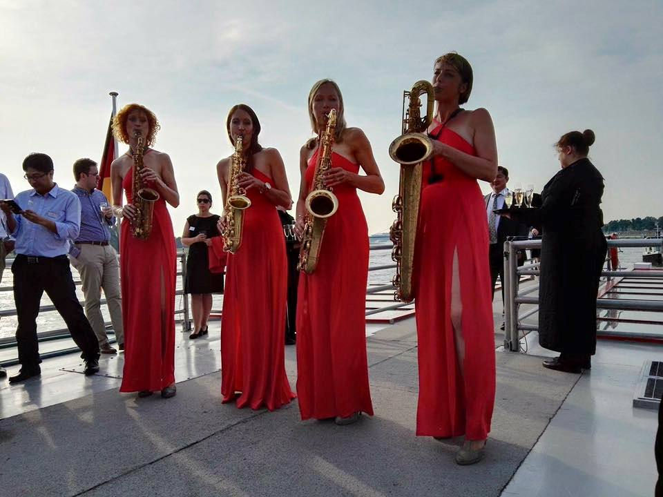 Beautiful saxophone players onboard our boat cruise on the Rhine River hosted by Singapore Airlines