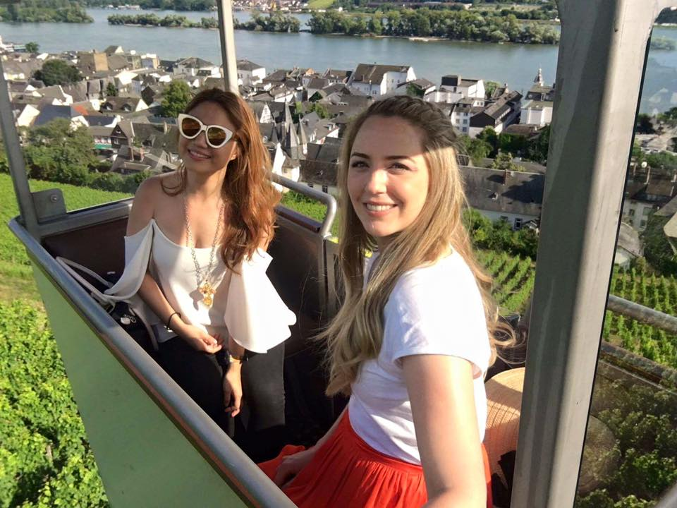 On a cable car ride to the Niederwald Monument at Rudesheim am Rhein (1.5 hours away by car from Frankfurt), which offers panoramic views over the old town and the Rhine River. Here I am with Australian travel blogger  Phoebe Lee  of Little Grey Box.