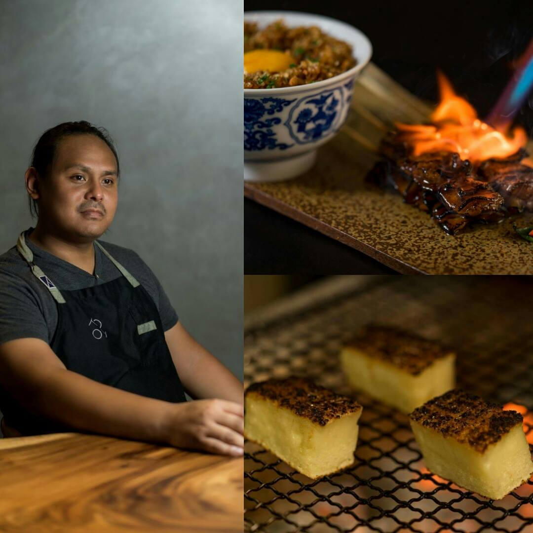 Jordy Navarra and two of his signatures at Toyo Eatery: Three-Cut Pork BBQ with Toyo Eatery Silog; Grilled Cassava Cake (Photos courtesy of Toyo Eatery)