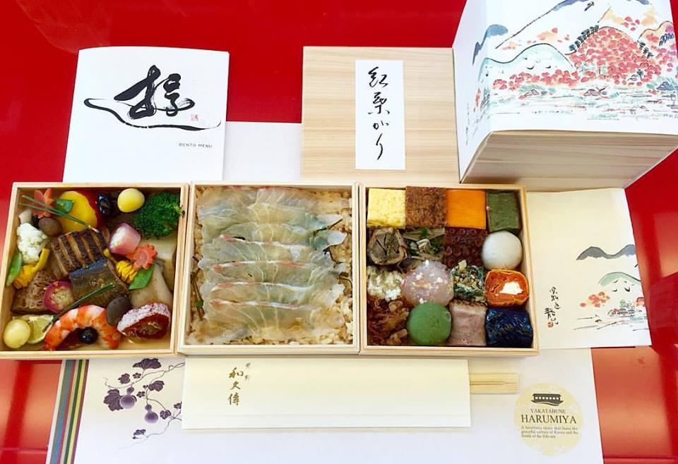 """Only the Japanese can make 41 """"courses"""" look this perfect.. And on a boat. It's presented originally in a box (top right) which you """"unbox"""" to reveal these 3 layers. There's even a menu in the form of a map that describes which is which.. Impeccable!"""