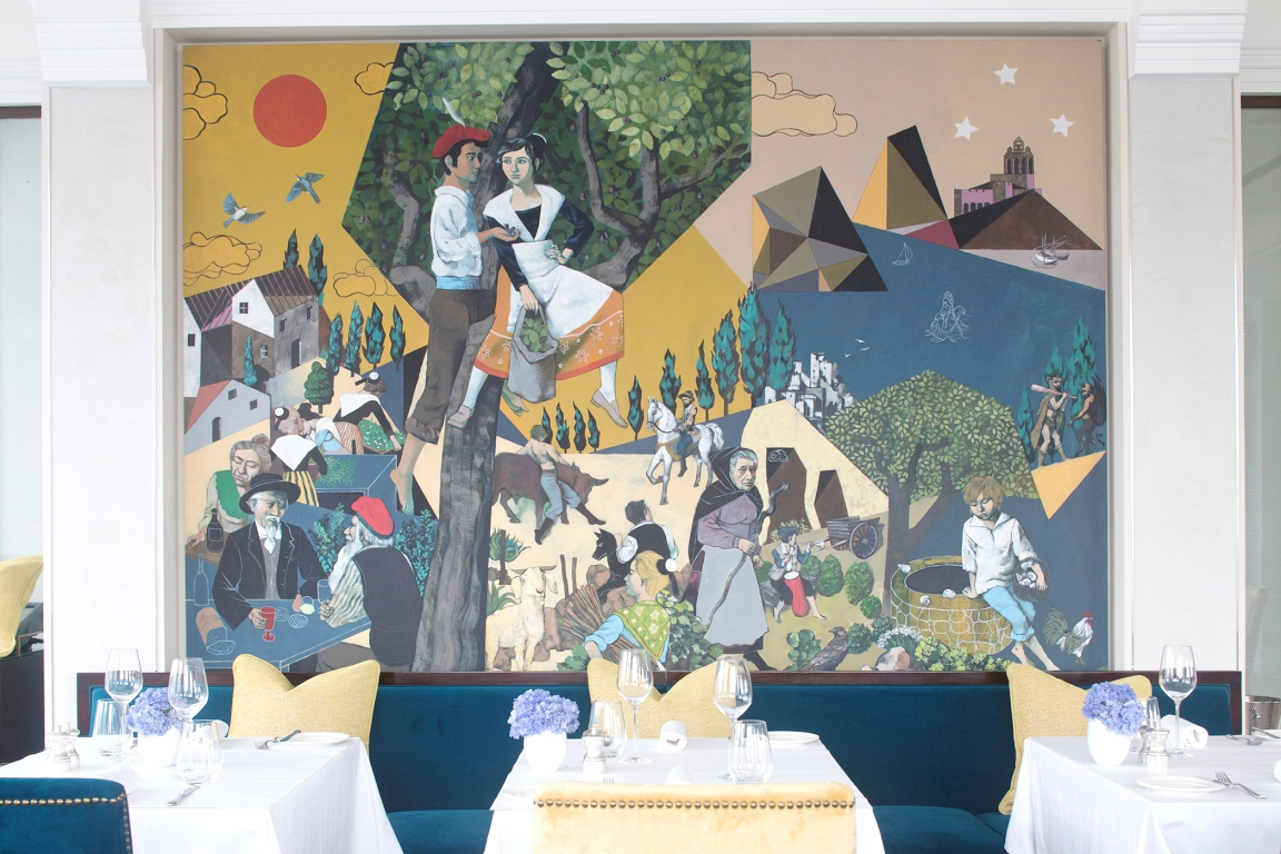 Mireio is present in the restaurant by way of this painting by Marcel Antonio (Photo courtesy of Raffles Makati)