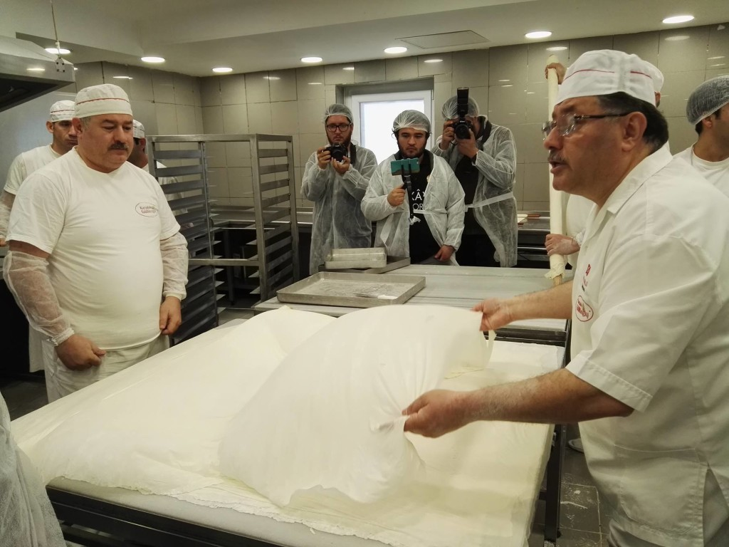 Making baklava at Karaköy Güllüoğlu with the finest silk-like phyllo pastry