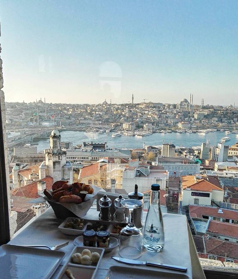Breakfast with the most incredible view of Istanbul on top of the Galata Tower.