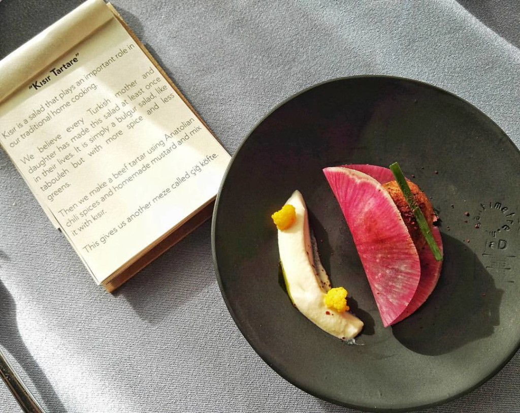 At Neolokal, chef Maksut Askar offers tasting menus with cards explaining the stories behind each dish that guests get to take home. Absolutely brilliant so the restaurant's philosophy doesn't get lost in translation in case the chef isn't around. This is the Kisir Tartare