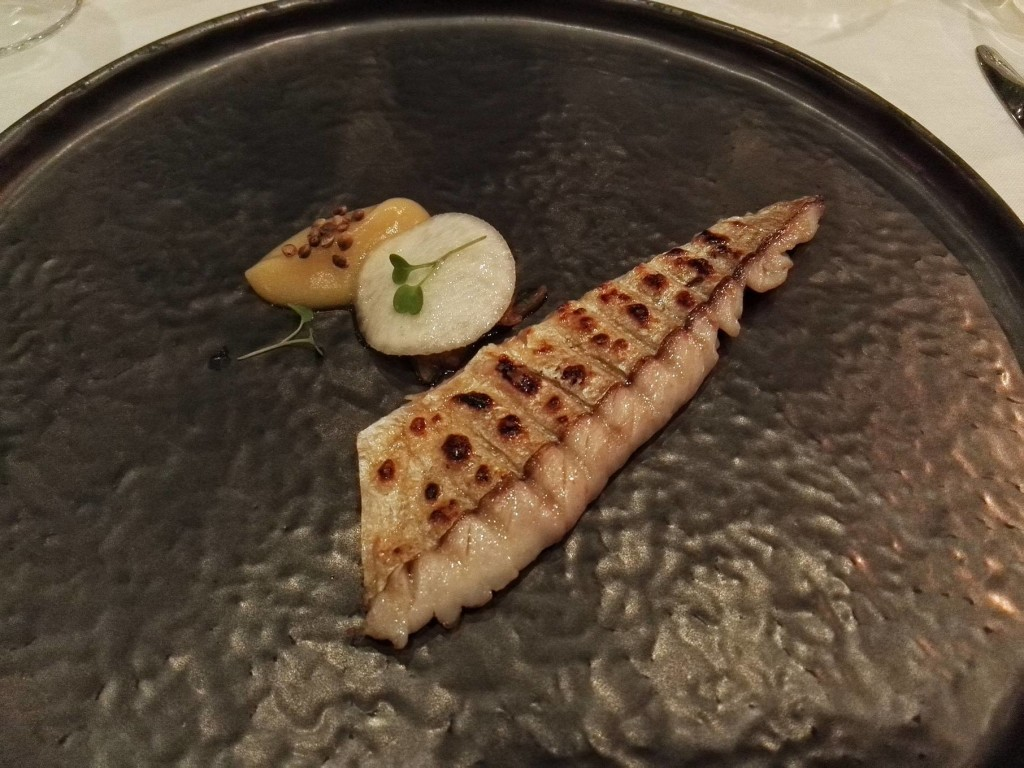 ) The seasonal Bosphorus bluefish served with quince, radish and red onions at Nicole