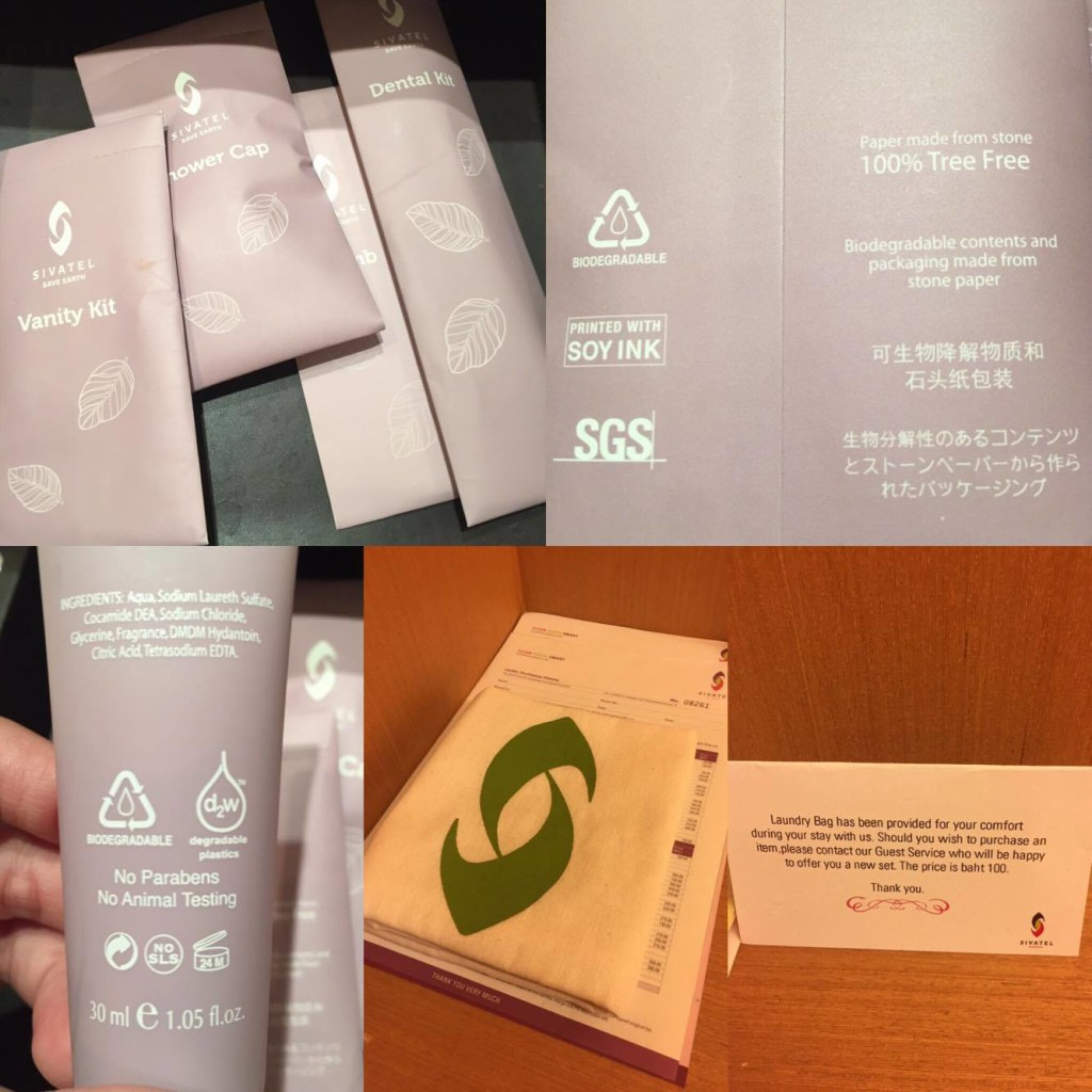 Eco-Friendly Room Amenities at Sivatel Bangkok- No Animal Testing, Printed in Soy Ink, Recyclable Laundry Bags.. Isn't that wonderful?