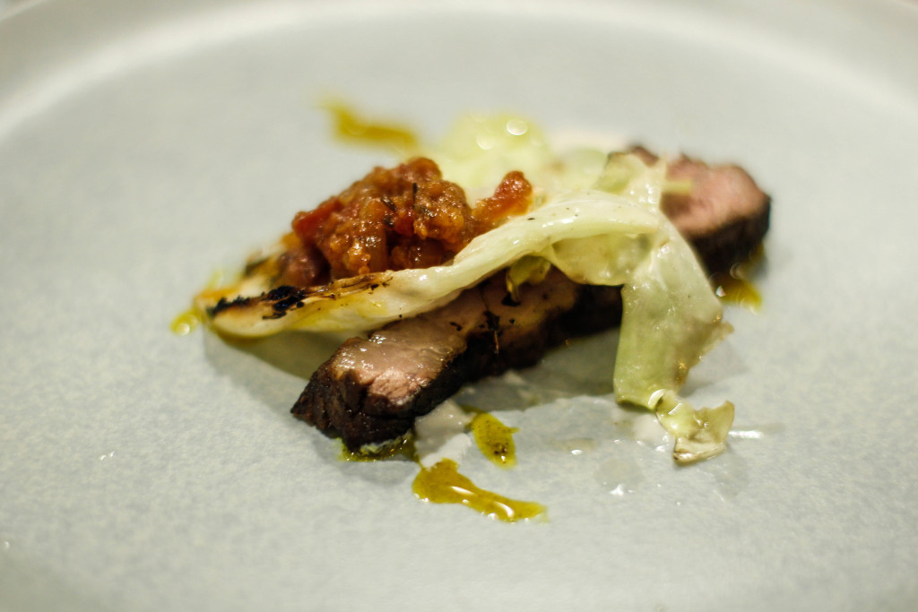 Beef Short rib with Burnt Cabbage, Chorizo, Egg Sauce- Andrew Walsh Cure