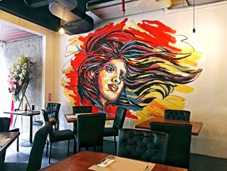 This will probably be the most photographed part of Restoran Garuda, which just opened three weeks ago-- a mural depicting a female spirit