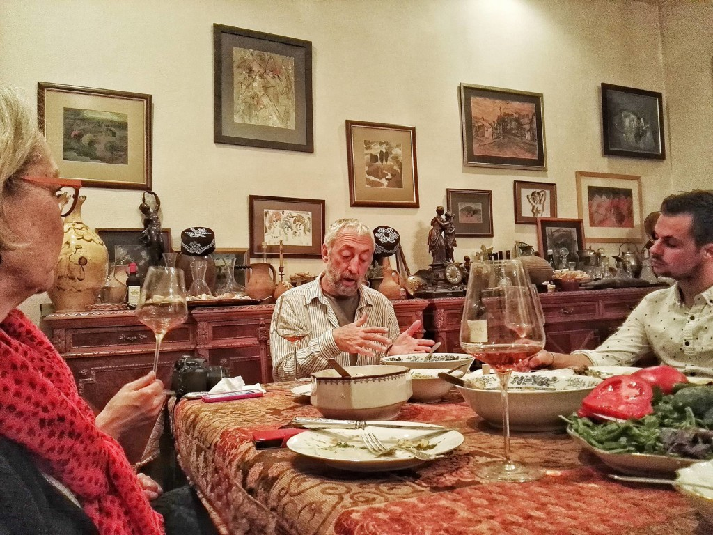 Dr. Eko Glonti in his element at his home in Tbilisi, sharing about his Lagvinari wines to guests over a delicious home-cooked meal