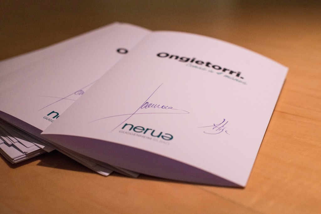 "Ongietorri means ""welcome"" in Basque country, which is the theme of Nerua's series of Four Hands dinners. The menus were signed by Joan and Josean. (Photo by Miguel Toña - MTVisuals)"