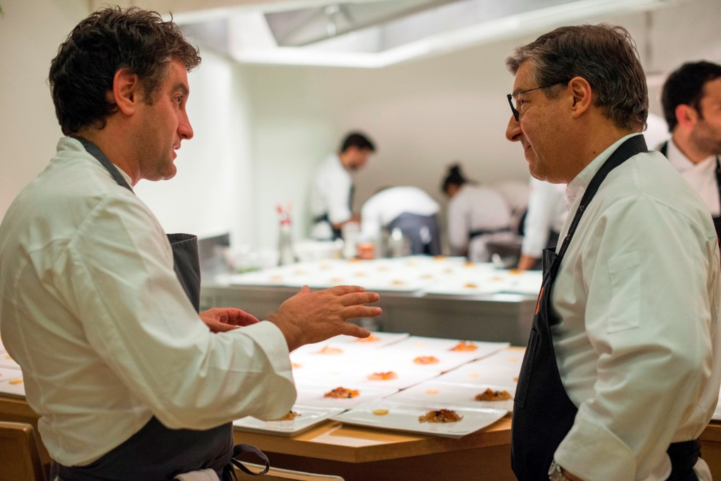While Josean Alija and Joan Roca have cooked together before at various food events, this is their first Four Hands dinner together. (Photo by Miguel Toña - MTVisuals)