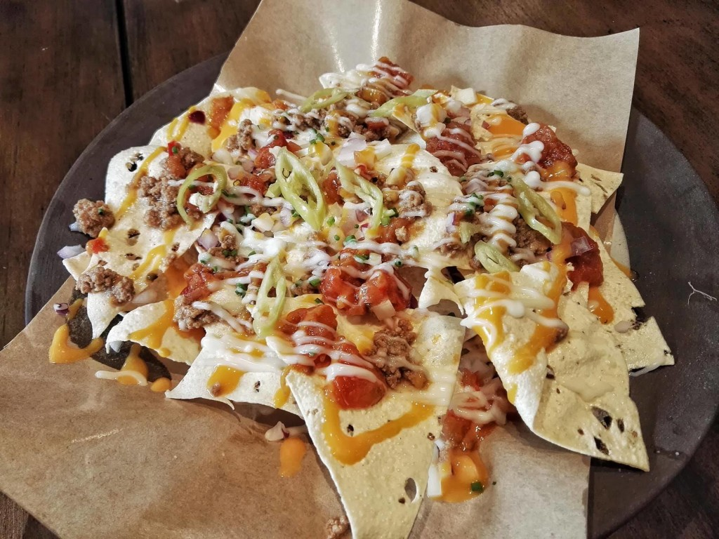 Papadum (Indian tortilla) nachos topped with beef (PHP180)