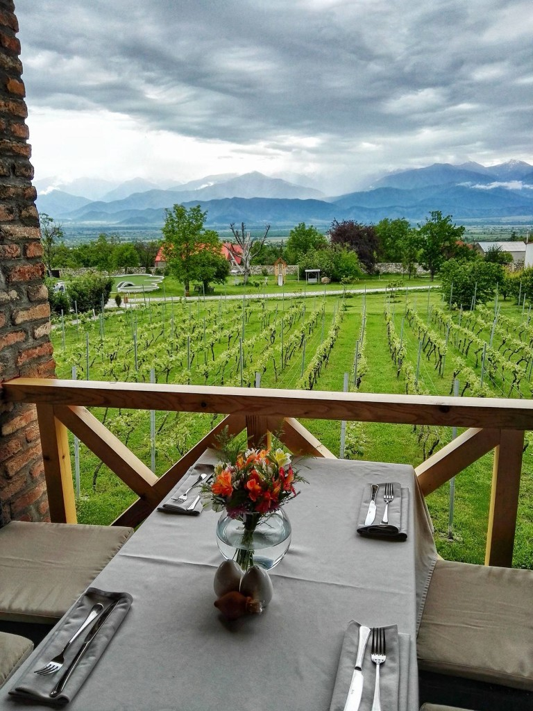 Schuchmann Winery has a restaurant overlooking their vineyards, Alazani Valley and Caucasus Mountains. They also have a hotel. They make wines both in qvevri-style and Western (stainless steel)-style. (Phohto by Cheryl Tiu)