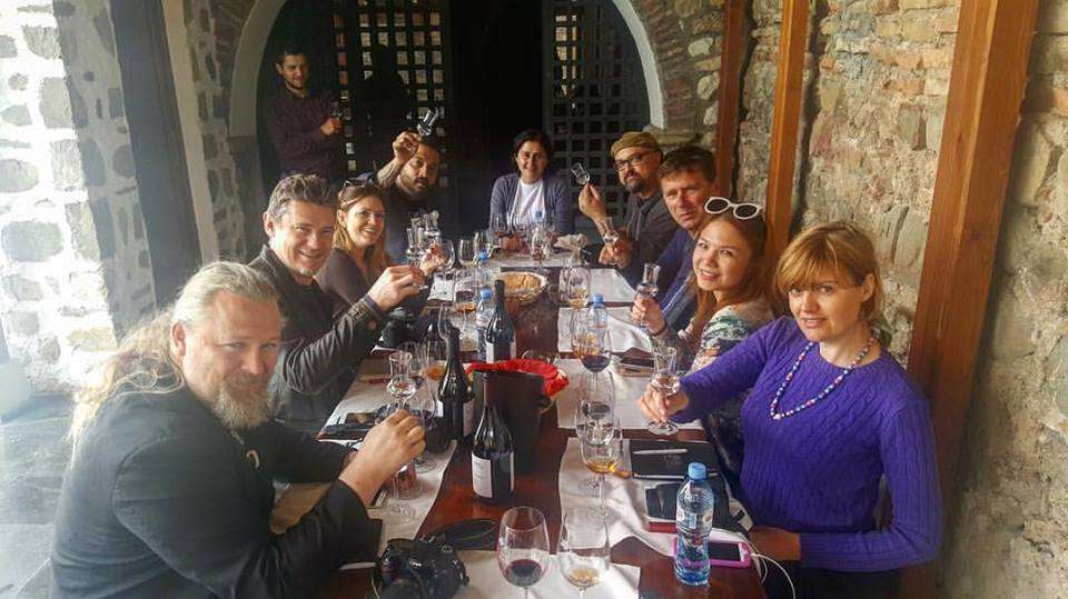 Our group of journalists, social media influencers and sommeliers from New York, Los Angeles, Sweden, Amsterdam, Canada and me from the Philippines/ Asia!- tasting Alaverdi's amber wine at 10 in the morning. (Photo courtesy of Taste Georgia)