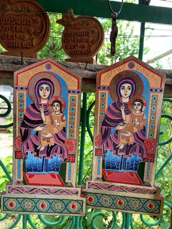Armenian icons of Mother Mary and Christ for sale. If you notice the pomegranates at the bottom, our guide told us that pomegranates are very significant of Armenian culture. (Photo by Cheryl Tiu)