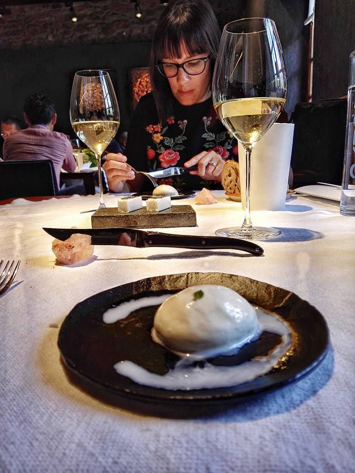 Lightly flame-kissed burrata with my dear lunch date Naiara Ortiz of Nerua. The lunch was extra special because of her company! (Photo by Cheryl Tiu)