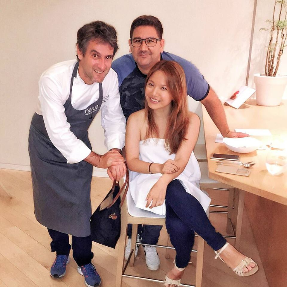 With Nerua chef-patron Josean Alija, and celebrity chef Dani Garcia who also happened to be dining with his team while I was there. (Photo by Cheryl Tiu)