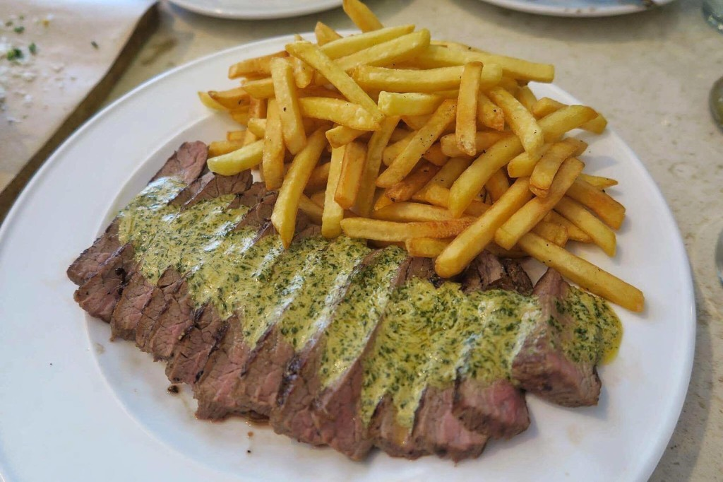 Steak Frites: US Angus Flank Steak with Shoestring Fries and Kettle Steak Butter