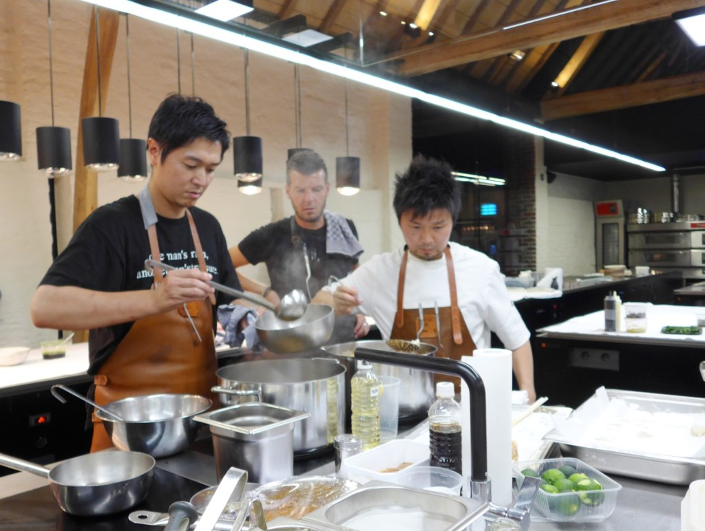 For dinner, Florilege's Hiroyasu Kawate and Den's Zaiyu Hasegawa take over the kitchen with Hertog Jan's Gert de Mangeleer. It must be noted that Yusuke Takada was also so kindly helping out in the kitchen. (Photo by Cheryl Tiu)