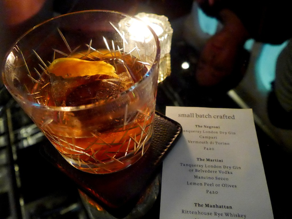 On Monday, October 16, Bank Bar's small batch negroni and martini will be only PHP55 from 5 to 8 PM (you can see they're normally priced at PHP420!) (Photo by Cheryl Tiu)