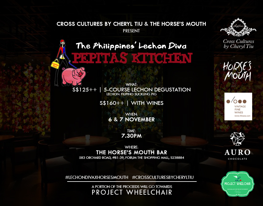 Cross Cultures Singapore- Lechon Diva at Horse's Mouth- November 6 and 7, 2017