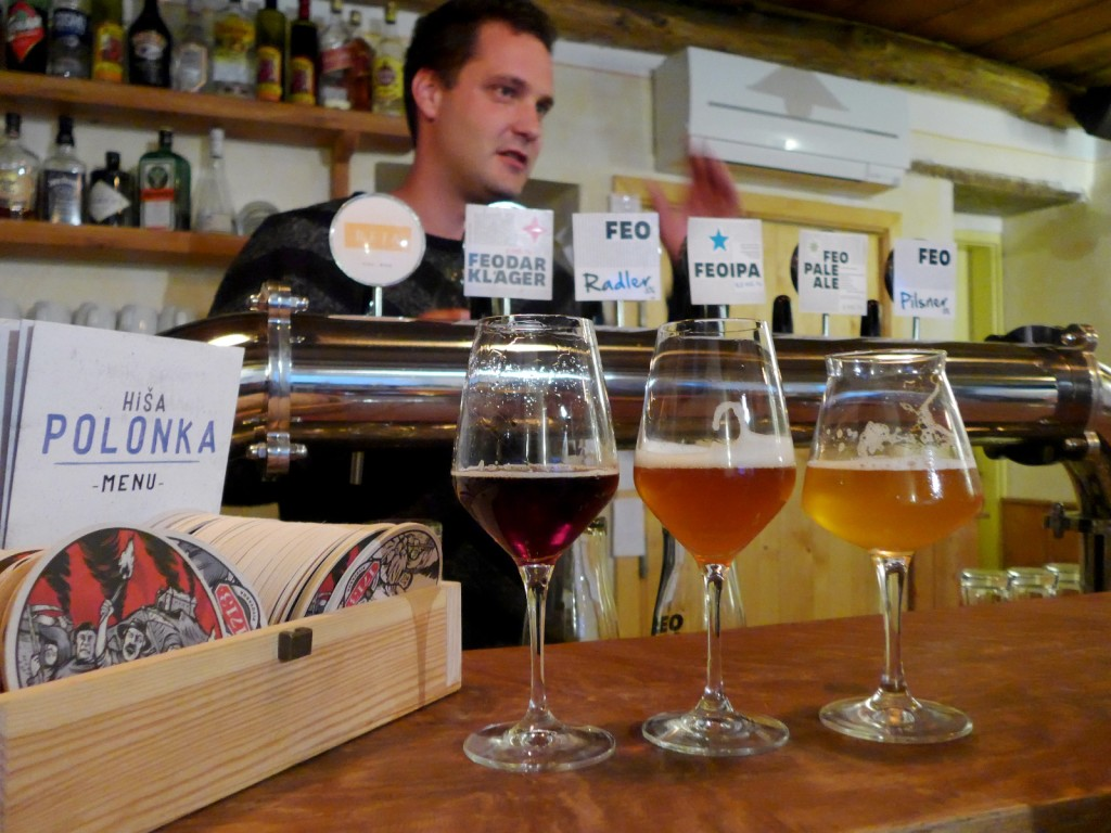 Feo Beer, a Slovenian craft beer brand founded by Valter Kramar and is friends, is served in full at Hisa Polonka in Kobarid (Photo by Cheryl Tiu)