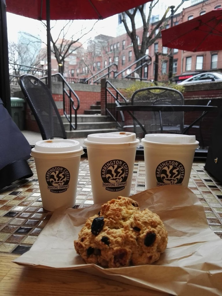 Barrington coffee (and this awesome vegan scone!) kept us warm and happy in our wintery escapade in Boston