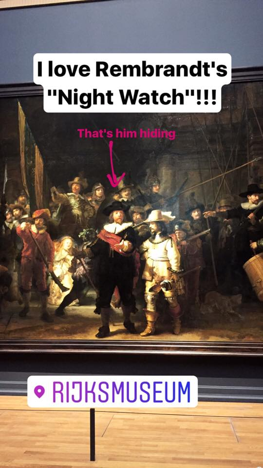 """I'm not particularly a museum person but I HAD to go to Rijksmuseum! Rembrandt's """"Night Watch"""" was one of my favorites, notice the play of dark and light.. and also spot him hiding!"""