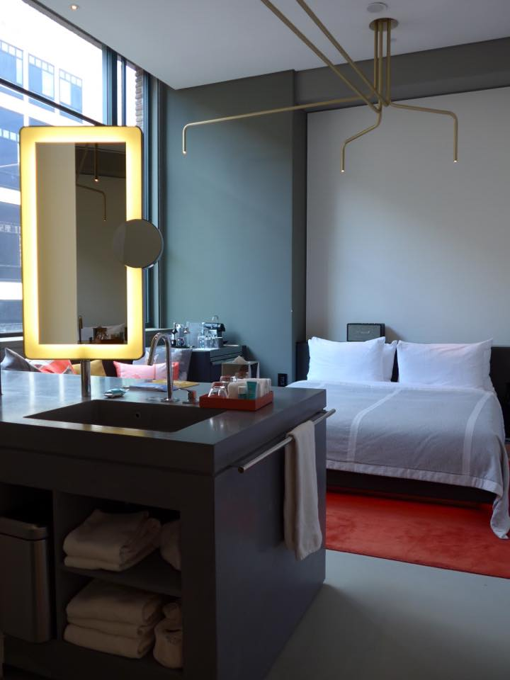 Home in Amsterdam was at the W Hotel 💞, which is actually set in 2 buildings-- a former 1920s telephone exchange building (where I stayed), and 1906 former bank across the street. As with any W property, it's fun, hip, modern, colorful and edgy, with glass walls that bring in natural light and make it difficult to leave the room.