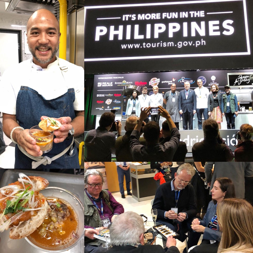 "At the Philippine reception at Tatel restaurant, JP Anglo of Sarsa prepared beef with mung bean soup (beef brisket, jamon iberico bones, onions, garlic, batwan and crispy danggit and garlic chips)– and a guinamos pimento (roasted yellow and red bell peppers, grilled bananas, leeks and onions, and pureed with guinamos); Madrid Fusion Manila 2018 opening announcement: Philippine Department of Tourism's Pam Samaniego, Silvia Diaz of La Finca, Gorka Txpartegi of Alameda, Jordy Navarra of Toyo, Philippine Amb. to Spain Philippe Lhuillier, Inigo Lavado of Singular, Lourdes Plana, JP Anglo; So amazing to have Elena Arzak as our ""unofficial"" ambassador of the Philippines. Here she is sharing Philippine dried mangoes with Spanish journalists and telling them about our country and cuisine at Madrid Fusion"