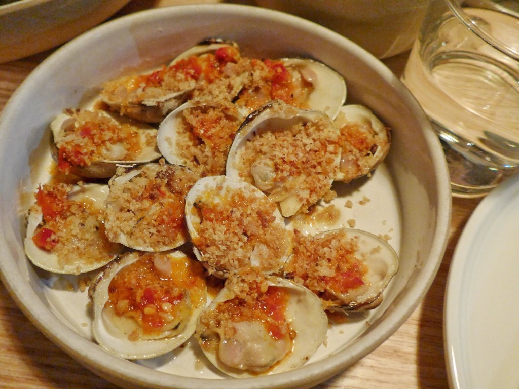 Grilled clams topped with Calabrian chili and breadcrumbs (Photo by Cheryl Tiu)