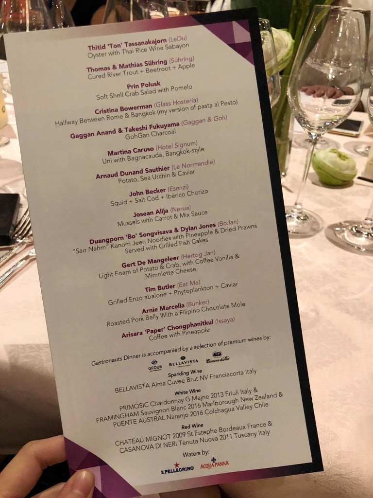 The 15-course star-studded menu! One course each per chef! Photo by Cheryl Tiu)